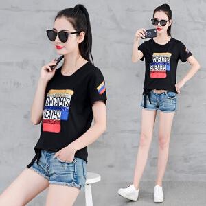 短袖t恤女韩版2018新款夏装棉显瘦字母上衣服半袖体恤