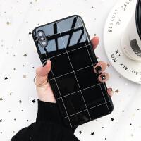 黑白格子苹果8plus玻璃防摔X手机壳iPhone Xs Max女款7plus/6s/xr 苹果6/6s 简约格子黑色