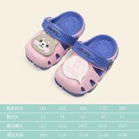 夏季男童�鐾闲�女����洞洞鞋�W生卡通�和�男女童鞋可��1-3�q�胗�悍阑��p便包�^�鲂�中大童�Ш蟾�沙�┬�