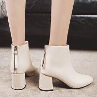 2019秋冬新款高跟粗跟方头韩版女鞋短靴性感马丁靴时装女靴子