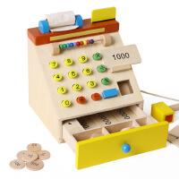 出口日本 超市仿真收银机 儿童木质收银台 仿真过家家玩具