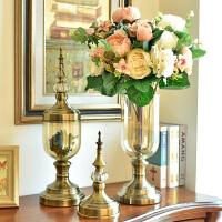 墨菲欧式家居装饰品玻璃花瓶花器摆件客厅仿真花干花插花套装摆设