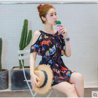 分体韩版温泉泳装 女遮肚保守小胸聚拢性感修身显瘦泳衣裙式泳衣