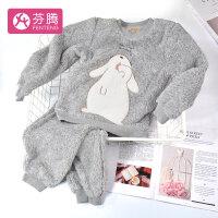 芬腾 珊瑚绒睡衣女童秋冬新品可爱卡通亲子装长袖套头家居服套装