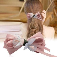 一字夹成人文艺花朵发饰品日韩国头饰顶夹子发卡弹簧夹发夹