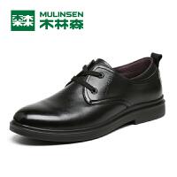 木林森男鞋2017秋季男士商务休闲皮鞋 套脚舒适耐磨男皮鞋77053114