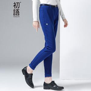 初语冬季新款 净色束脚修身显腿型橡筋休闲长裤女8641902012
