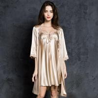 睡衣女夏吊带短袖春秋季两件套装冰丝宫廷性感睡裙公主家居服睡裙