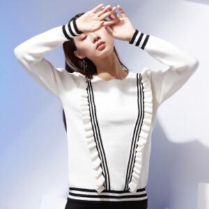 秋冬新款木耳边针织衫套头打底衫长袖花边毛衣女条纹荷叶边特惠