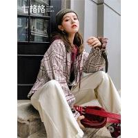 七格格短款外套女2019新款春秋季韩版宽松拉链棒球衫格子长袖上衣