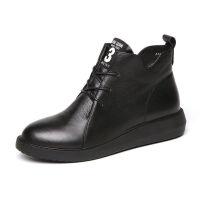 软底短靴秋冬新款女鞋平跟平底女靴子舒适妈妈鞋马丁靴