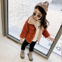 女宝宝外套加绒冬装秋冬灯芯绒女童洋气外套