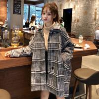 2018流行呢子大衣秋冬新款韩版宽松中长款小个子千鸟格毛呢外套女