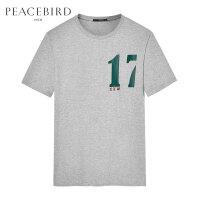 太平鸟男装 灰色青年男士短袖T恤韩版宽松数字印花T恤潮B1DA71415