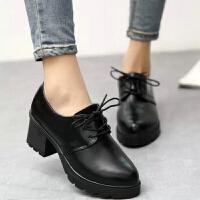 春秋季韩版女士高跟鞋英伦复古系带皮鞋学生鞋子粗跟单鞋黑色女鞋