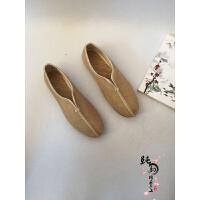 亚麻休闲男鞋复古懒人鞋中国风麻鞋渔夫鞋一脚蹬居士僧鞋学生鞋子