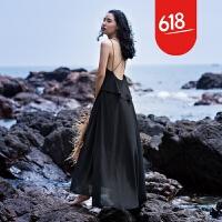原创沙滩裙海边度假波西米亚长裙V领荷叶边露背黑色雪纺吊带连衣裙夏GH032 黑色