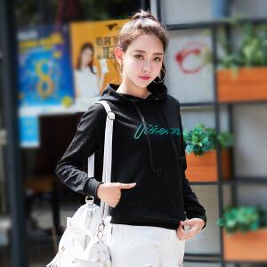 卡茗语秋季韩版2017新款字母刺绣长袖卫衣女士外套上衣