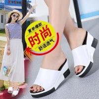 坡跟拖鞋女夏新款韩版松糕凉拖时尚鞋拖外穿厚底凉拖鞋