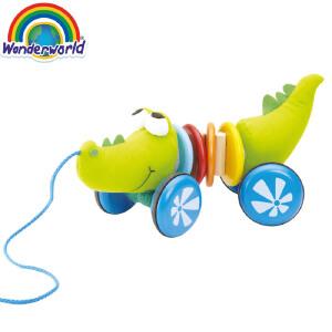 [当当自营]泰国Wonderworld 鳄鱼哒哒 毛绒组合 拖拉学步 益智玩具 木质毛绒玩具