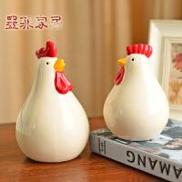 新中式家居装饰品摆件客厅酒柜电视柜玄关摆设陶瓷工艺品对鸡摆设