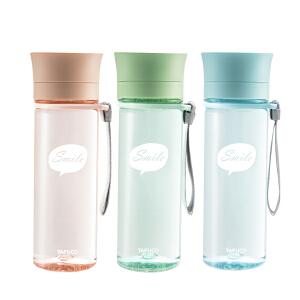 泰福高韩版茶杯ins水杯塑料透明简约女学生防摔可爱清新个性便携随手杯350ML