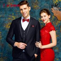 才子男装套西男士青年纯色修身西服套装新郎结婚礼服商务正装西装黑色