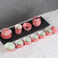 德化瓷手绘青瓷鱼杯茶具礼品 骨瓷青瓷茶杯功夫茶具陶瓷茶壶品茶套装