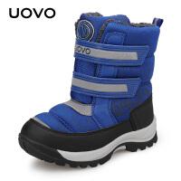 UOVO儿童雪地靴加厚2019冬季新款防风防泼水儿童棉鞋加绒羊羔绒男童靴子保暖女童棉鞋 西伯利亚P
