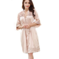 女吊带睡裙睡袍两件套睡衣春季冰丝丝绸蕾丝家居服
