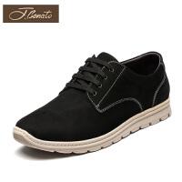 宾度男鞋新品磨砂皮鞋男青年休闲鞋运动鞋减震系带男士鞋子