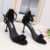 搭配裙子穿的鞋子仙女风夏天新款凉鞋女百搭性感细跟网红超高跟鞋百搭 黑色