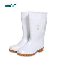 白色食品卫生靴 牛筋底防滑中筒水鞋耐磨耐油耐酸碱雨鞋男女胶鞋 白色 牛筋底中筒