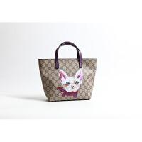 新款潮韩版百搭印花狗形猫形购物袋托特包女士手提包小包包女