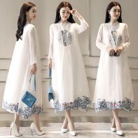 原创2018新款中国风两件套连衣裙超仙茶服a型民族风欧根纱长裙子女夏GH030 2X
