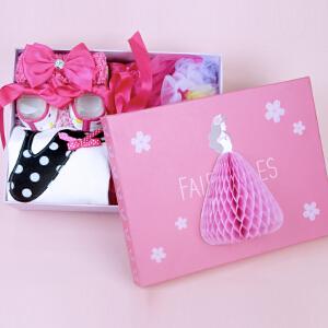 货到付款 Yinbeler 女童公主裙女宝宝连衣裙夏装新生儿满月婴儿裙子夏 0-1岁周岁礼服礼盒-彩虹裙-高跟鞋