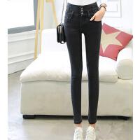 新款高腰弹力紧身牛仔裤女 韩版时尚小脚裤 大码排扣铅笔裤
