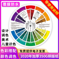 中文版 色轮卡色相环 配色卡 colorwheel色环表色轮卡调色配色 色轮表颜色搭配混色参考色盘卡设计师美术生国家标准油漆印刷色环表 直径25CM