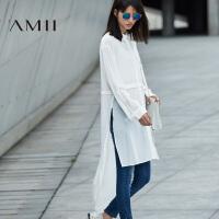 AMII[极简主义]2017年春女纯色透视雪纺长袖宽松中长款衬衫11692125