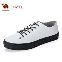 camel 骆驼男鞋休闲牛皮鞋潮流系带休闲鞋小白鞋男