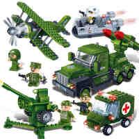 邦宝小颗粒儿童益智拼插二战飞机汽车船模型男孩军事积木玩具套装