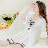 睡衣女夏春秋季睡裙长袖冰丝三件套装薄款性感吊带蕾丝家居服睡裙