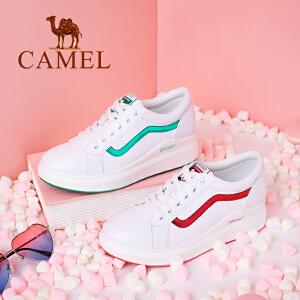 camel/骆驼厚底小白鞋女2018春季新款平跟系带休闲鞋女鞋百搭板鞋女单鞋