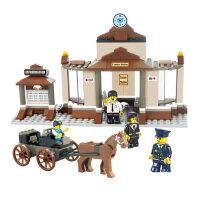 小鲁班积木世纪火车站 候车大厅 复古积木拼插式小孩玩具积木