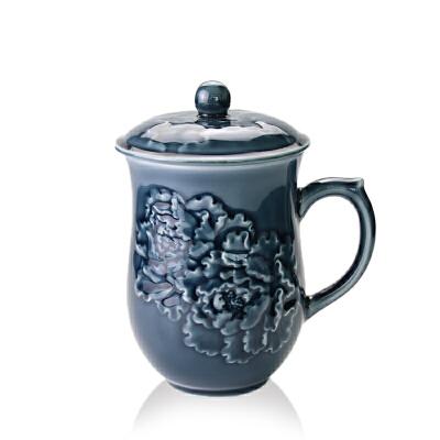 乾唐轩活瓷杯盛世牡丹高杯高档陶瓷水杯子办公杯商务礼品杯