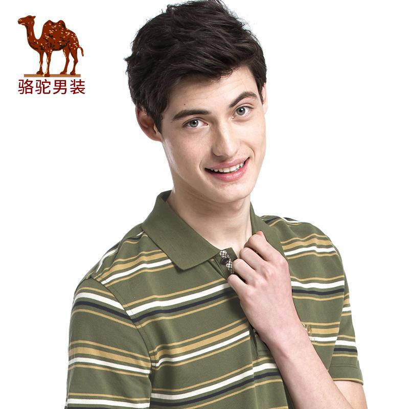 骆驼男装 夏季新款翻领条纹绣标POLO衫商务休闲男短袖T恤衫