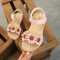 2018夏季新款1-12岁韩版花朵软底女童凉鞋公主鞋沙滩鞋宝宝儿童鞋