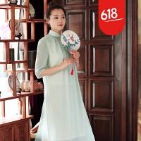 魅儿原创设计新品中式文艺茶服中国风女装改良旗袍连衣裙L3113GH123 清水绿