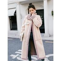 七格格仿皮草仿皮毛一体女2018新款冬季粉色修身时尚长款大衣外套