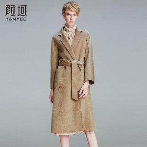 颜域品牌女装2017秋冬新款欧美品牌翻领中长款驼色双面呢羊毛大衣